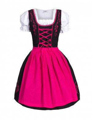 Holiday Pink Big Size 3-Piece Puffed Oktoberfest Costume For Bavaria Stunning Style