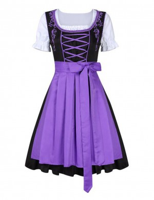 Purple 3 Piece Oktoberfest Big Size Costumes For German Bavaria Dress For Women