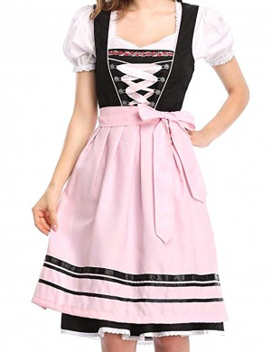 Pink Dirndl Apron Puff Sleeves Maid Dress Oktoberfest Costume Leisure