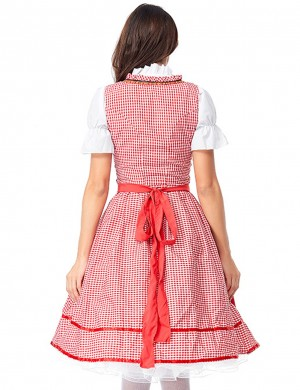 Marvelous  Red Large Size 3-Piece Plaid Dirndl Oktoberfest Costumes Essentials