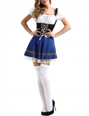 Graceful Blue Square Collar Puffed Oktoberfest Costumes Halloween Woman