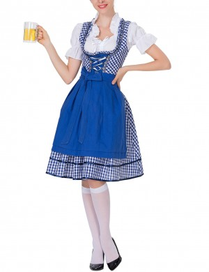 Amazing Blue Apron Short Sleeve Big Size German Oktoberfest Costumes Romance