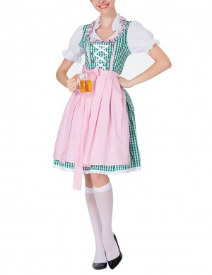 Entrancing Green Plaid Dirndl Queen Size Carnival Oktoberfest Costumes Online