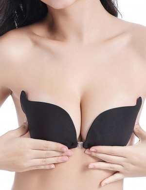 Ladies Push Up Black Front Closure Padded Invisible Bra Allover Slim