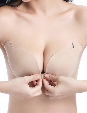 Nice Quality Skin V Neck Invisible Bra Wireless Plain Closure
