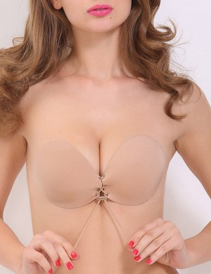 Favorite Lace Up Skin V Neck Invisible Bra Push Up Plain All Over Soft