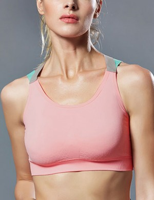 Large Bust Criss Cross Light Pink U Neck Sport Bra Backless For Gym