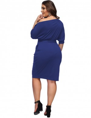 Navy Blue Waist Belt Large Size Plain Slant Shoulder Midi Dress For Ladies