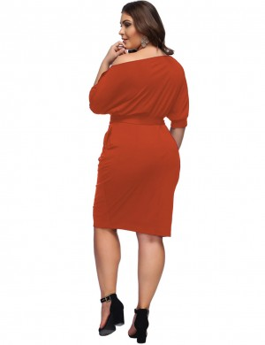 Versatile Orange Queen Size Waist Belt Oblique Shoulder Midi Dress Ladies