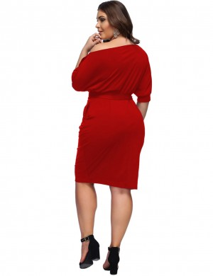 Red Sloping Shoulder Big Size Plain Waist Belt Midi Dress Comfort Fashion