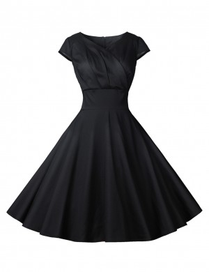 Affordable Black Short Sleeve V Neck Wrap Zip Ruched Skater Dress