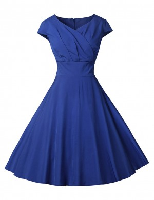 Sapphire Blue Short Sleeve Wrap V Neck Shirred Skater Dress Ideal Choice