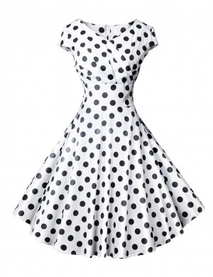 Pretty White Wrap Polka Dot Short Sleeve Skater Dress Zip For Ladies