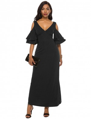 Demure Blue Ruffle Layered Sleeve Cold Shoulder Maxi Dress On-Trend Fashion