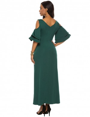 Ultimate Comfort Dark Green V Collar Cold Shoulder Maxi Dress Zipper