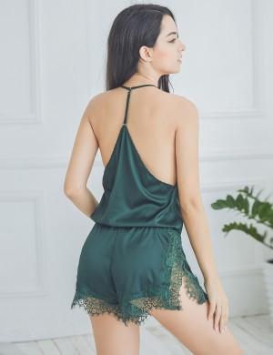 Green Silk Backless Split Teddy Eyelash Lace Nightwear Dissolute Bedtime