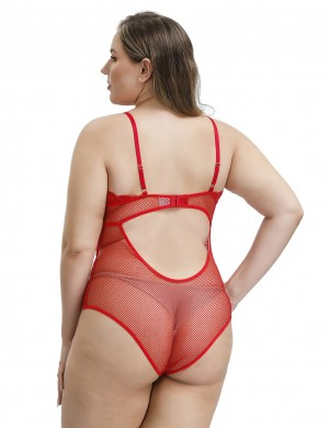 Shimmery Red Cut Out Lace Mesh V Neck Teddy Plus Size High Grade Fabric