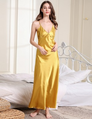 Collection Yellow V Collar Pure Color Faux Silk Sling Sleepwear Nice Quality
