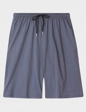 Unique Light Blue Sleepwear Mens Cotton Bottom With Drawstring