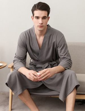 Cheap Grey Male Knee Length Plain Pockets Robe Plus Size Online