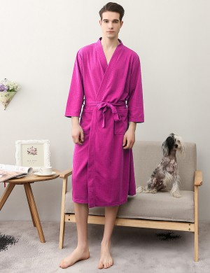 Fiery Rose Red Big Size Knotted Waist Male Night-Robe Solid Color Comfort