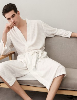 Dreamy White Men Plus Size Pockets Bathing Robe With Belt