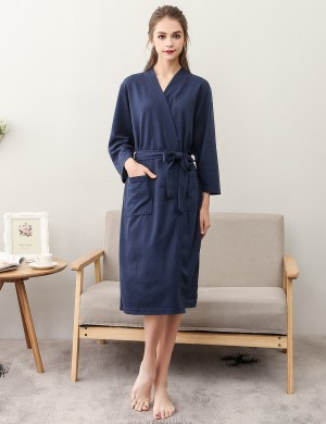 Delightfully Dark Blue Cotton Solid Color Night-Robe Large Size Intimate Fashion