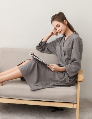 Fascinating Grey Midi Length Cotton Bathing Robe Big Size Fashion Design