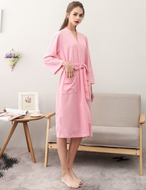 Fantastic Pink Knee Length Big Size Night-Robe Long Sleeves Slim Fingure