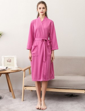 Faddish Rose Red Wrap Solid Color Knee Length Night-Robe Large Size High Grade