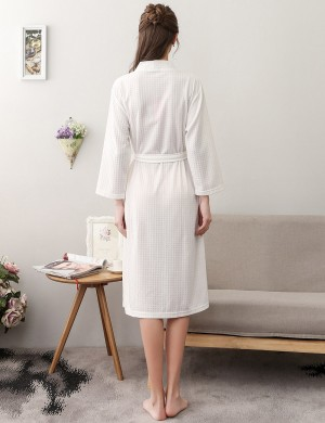 Wholesale White Plain Cotton Big Size Bathrobe With Belt Fashion Online For Lady