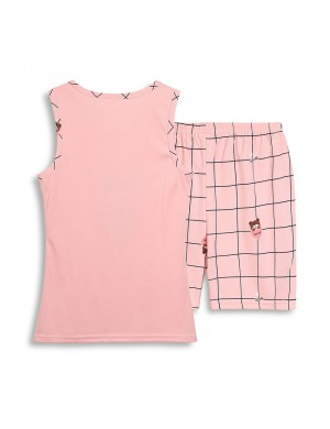Romantic Big Size Round Neck Cartoon Print 2 Pieces Sleepwear Slim Fitting Style