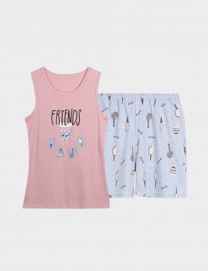 Passionate Cartoon Pattern Large Size Nightwear 2 Pieces For Couple