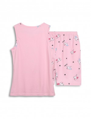 Charming Large Size Print Cotton Sleepwear Set Round Neck Slim Fitting