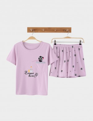 Galore Cartoon Pattern Plus Size Cotton Nightwear Set For Woman Fashion Online