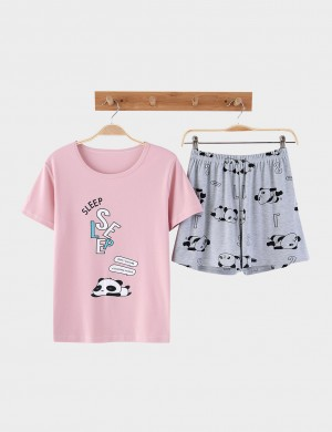 Inexpensive Cotton Big Size Panda Pattern Sleepwear 2 Pieces Smooth Fabric