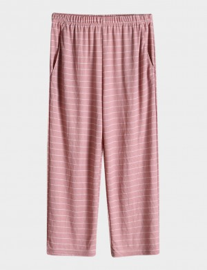Cheap Pink Stripes Calf Length Plus Size Sleepwear Pants Slimming Style