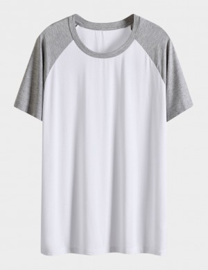 Precious White Men Contrast Color Big Size Sleepwear Top Round Neck