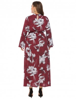 Exclusive Wine Red Floral Pattern Bell Sleeve Plus Size Dress