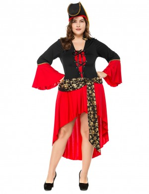Chic Red Pirate Costume Lace-Up High Low Large Size Latest Styles