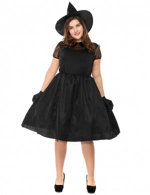 Black Plus Size Tie Wiast Witch Costume Short Sleeve Gentle Fabric