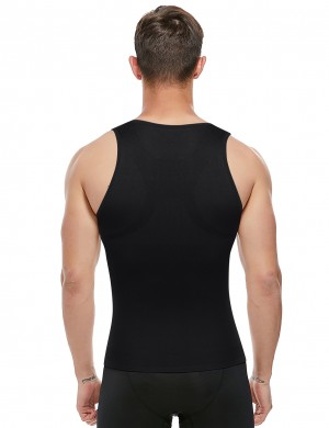 Slim Black U-Neck Seamless Men's Tank Shaper Strap Good Elastic
