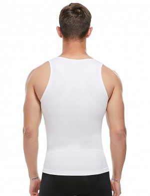 White Men's Tank Shaper Wide Straps Seamless U-Neck Close Fit