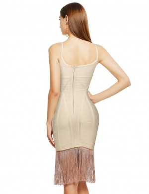 Beige Cross Neck Tassel Hem Bandage Dress Delightful Garment