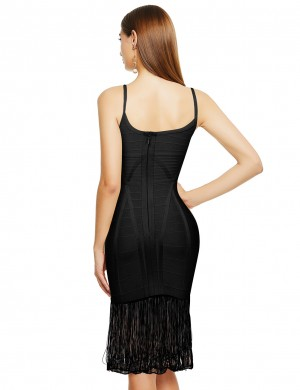 Angel Black Tight Bandage Dress Sling Tassel Hem Wholesale Online