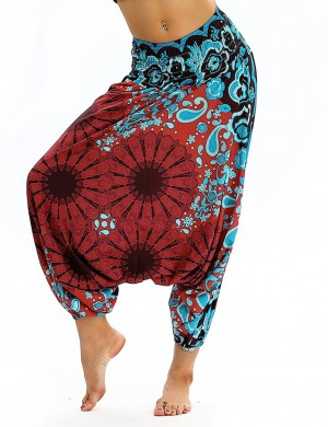 Striking Wide Legs Digital Printing Lantern Pants Refined Outfit