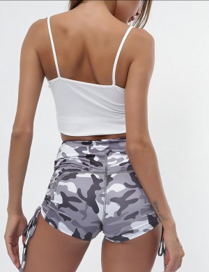 Fashionable Gray Gym Shorts High-Waisted Knotted Camouflage