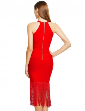 Delicate Red Crew Neck Sleeveless Tassel Hem Bandage Dress Home Dress
