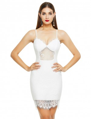 Trendy White Sling Lace Patchwork Sheer Bandage Dress Elegance