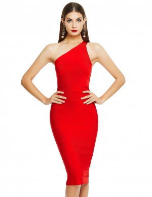 Body Hugging Red Bandage Dress One Shoulder Back Slit Womenswear